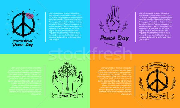 International Peace Day Vector Illustration 4 Pics Stock photo © robuart