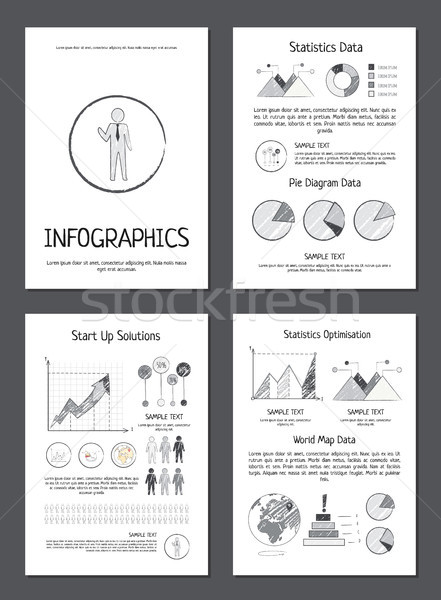 Infographics with Various Data on Paper Sheets Stock photo © robuart