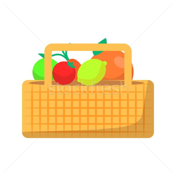 Fonott kosár gyümölcs zöldségek piknik izolált Stock fotó © robuart