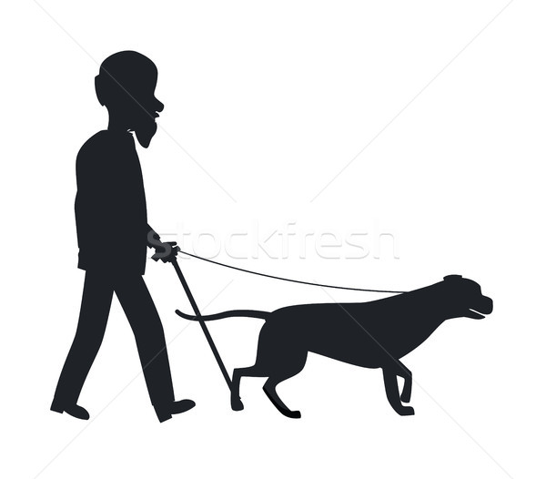 Dog Guide Silhouette Old Man Holding Pet Vector Stock photo © robuart