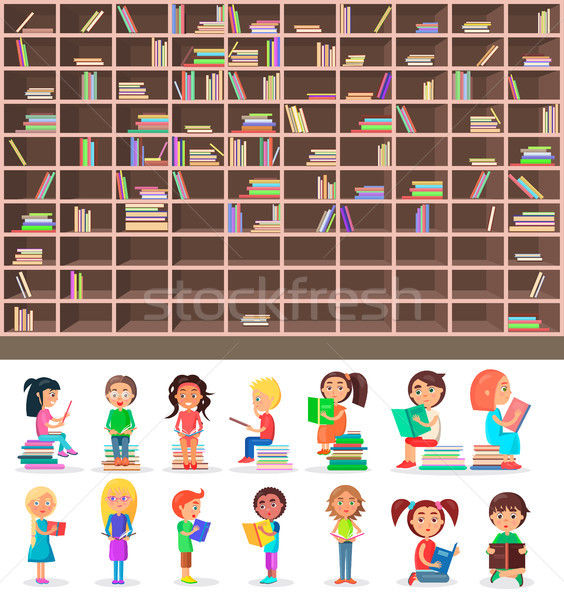 Groot bibliotheek boekenplank ingesteld houten boekenkast Stockfoto © robuart
