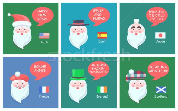 Gratulacje nowy rok obcy języki Święty mikołaj różny Zdjęcia stock © robuart
