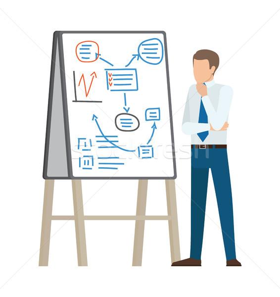 ビジネスマン 思考 計画 インタラクティブな ボード スーツ ストックフォト © robuart