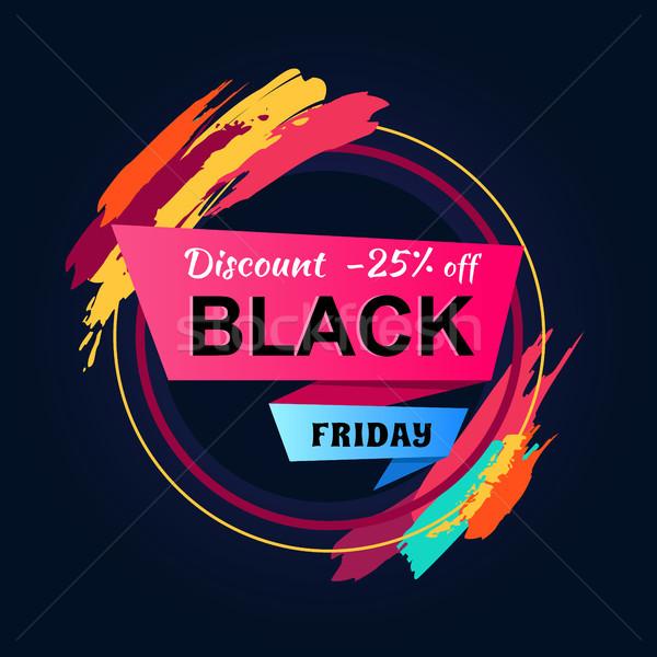 Black friday zniżka 25 napis kółko ramki Zdjęcia stock © robuart