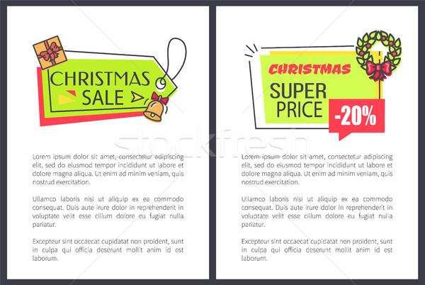 Christmas Sale Super Price Vector Illustration Stock photo © robuart