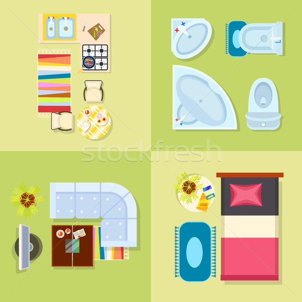 Keuken badkamer ontwerp woonkamer slaapkamer ingesteld Stockfoto © robuart