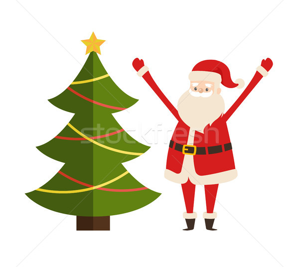 New Year Tree And Santa Claus Icon Vector Poster Vector Illustration C Robuart 8840099 Stockfresh Here you can explore hq cartoon christmas tree transparent illustrations, icons and clipart with filter setting like size, type, color etc. new year tree and santa claus icon