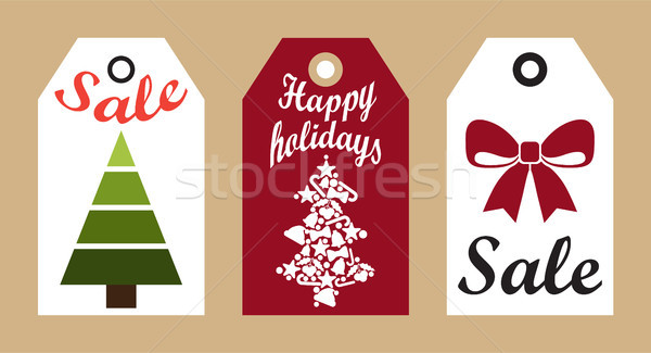 Sale Happy Holidays Advertisement Ready Use Labels Stock photo © robuart
