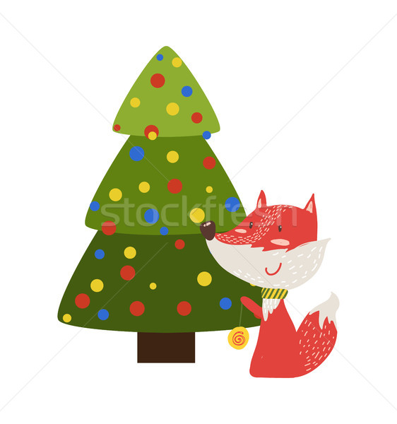 Greeting Card with Cartoon Fox with Yo-To Toy Tree Stock photo © robuart