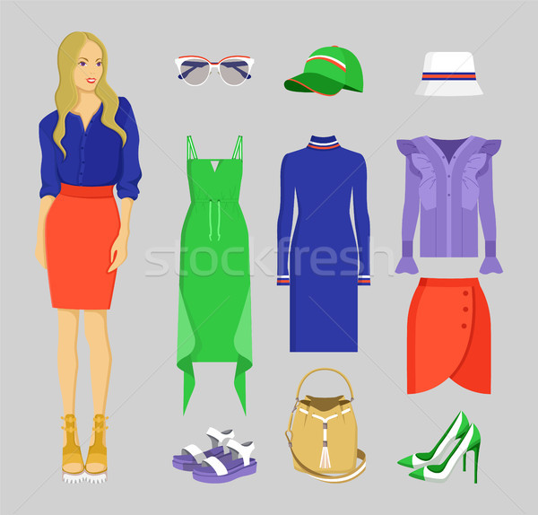Summer Mode of Woman Set, Vector Illustration Stock photo © robuart