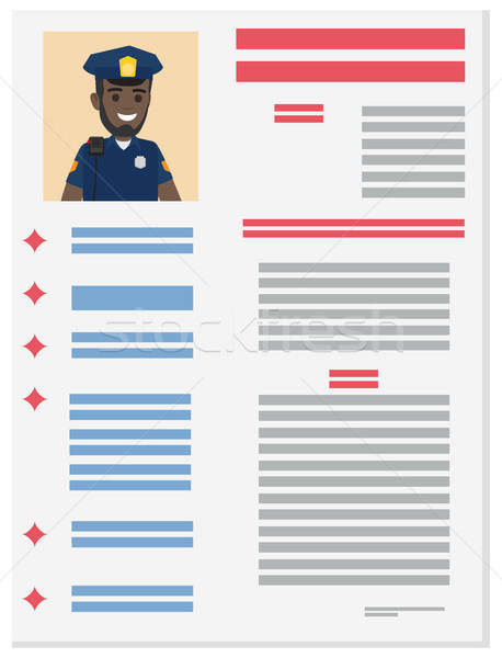 Policeman Career Information Leaflet Flat Vector Stock photo © robuart