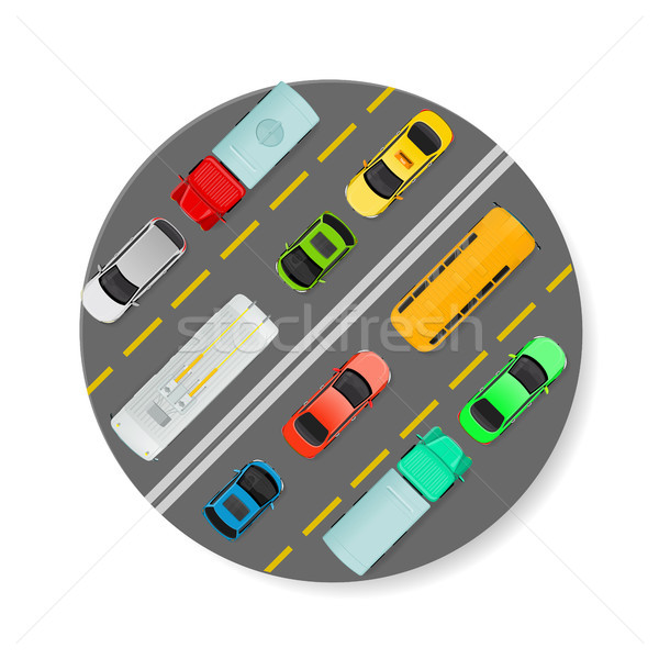 City Traffic on Top View Flat Vector Icon  Stock photo © robuart