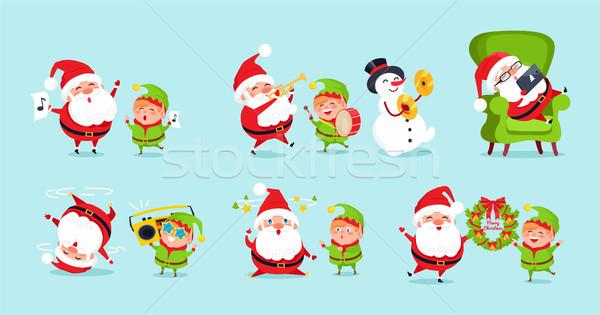 Elfo desenho animado anúncio pôsteres Foto stock © robuart