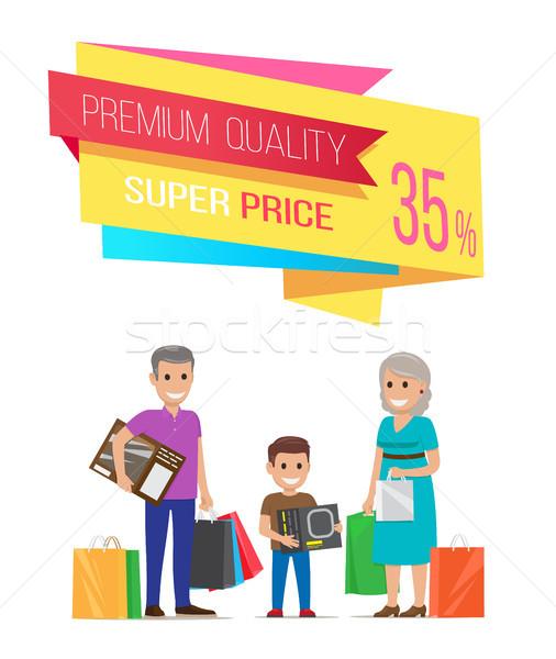 Prémium minőség szuper ár mosolyog család Stock fotó © robuart