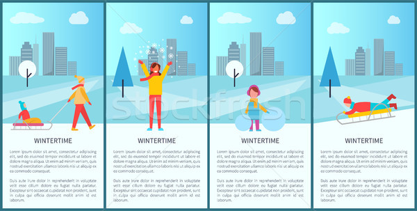 Wintertime City Park Activity Vector Illustration Stock photo © robuart