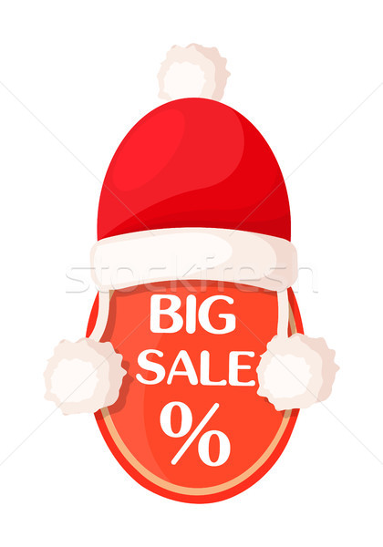 Big Sale Oval Tag with Percent Sign and Santa Hat Stock photo © robuart