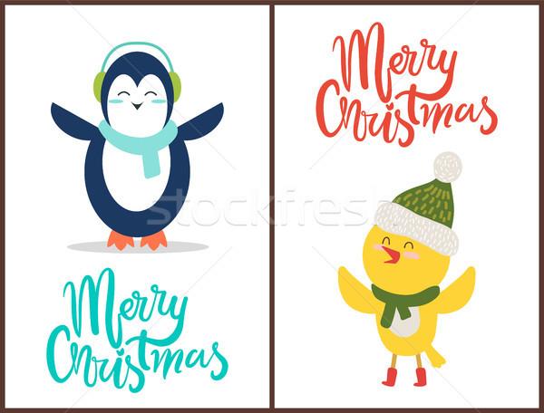 Joyeux Noël félicitation heureux oiseaux tricoté Photo stock © robuart