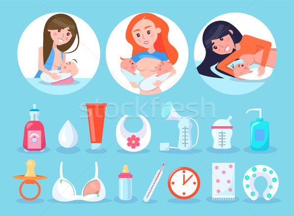 Mulheres coleção mães amamentação crianças Foto stock © robuart