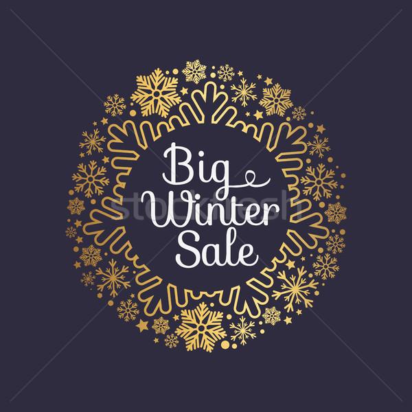 Big Winter Sale Inscription Gold Ornamental Frame Stock photo © robuart