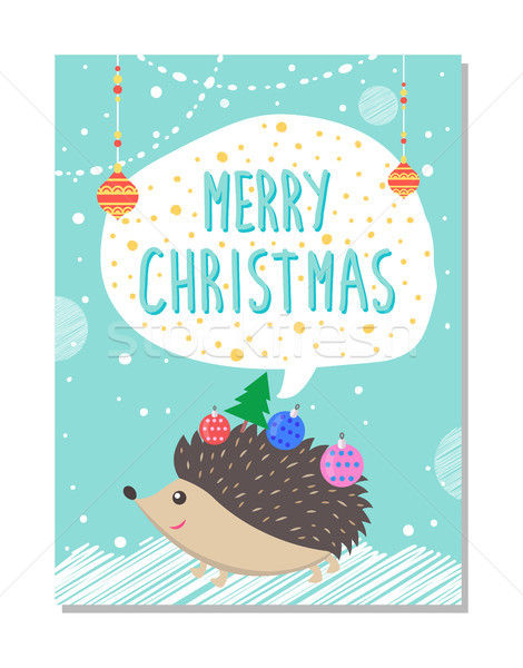 Merry Christmas Wishes from Cute Hedgehog Decor Stock photo © robuart