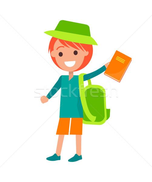 Redhead Boy Holding Book Isolated Illustration Stock photo © robuart