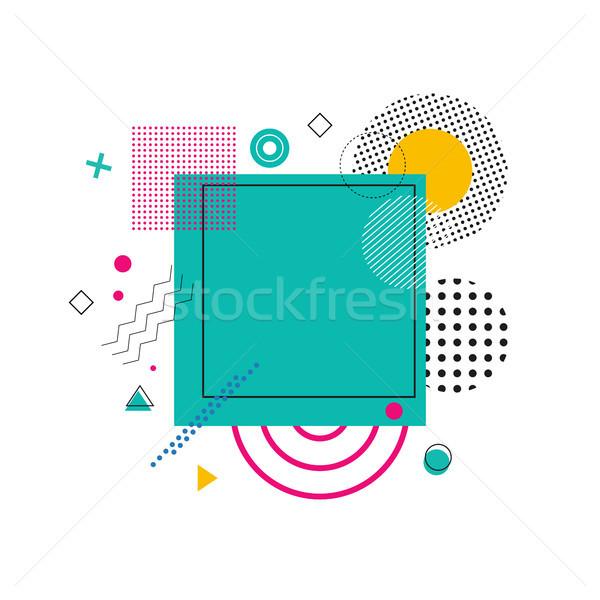 зеленый квадратный абстракция круга небольшой линия Сток-фото © robuart