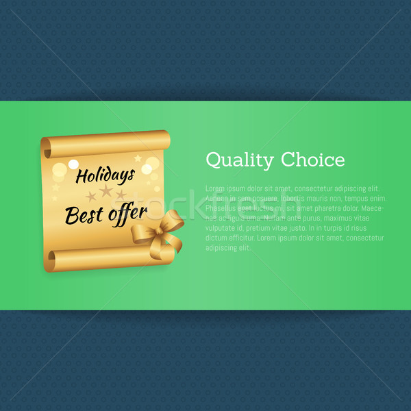 Quality Choice Holidays Best Offer Text on Golden Stock photo © robuart