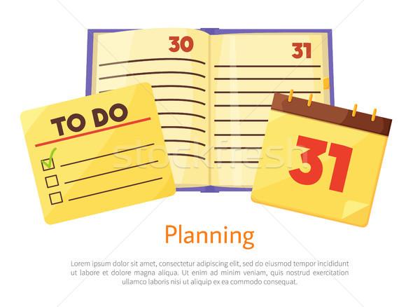 Tervez lista füzet poszter csekk dobozok Stock fotó © robuart