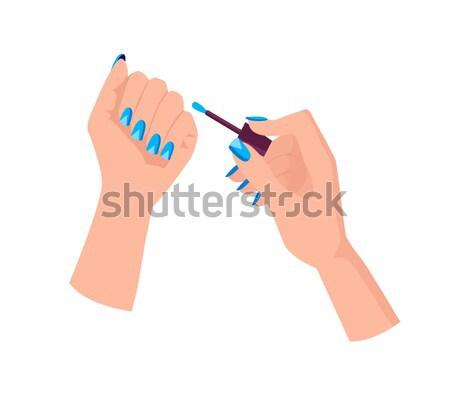 Kobiet ręce schludny niebieski manicure utrzymać Zdjęcia stock © robuart