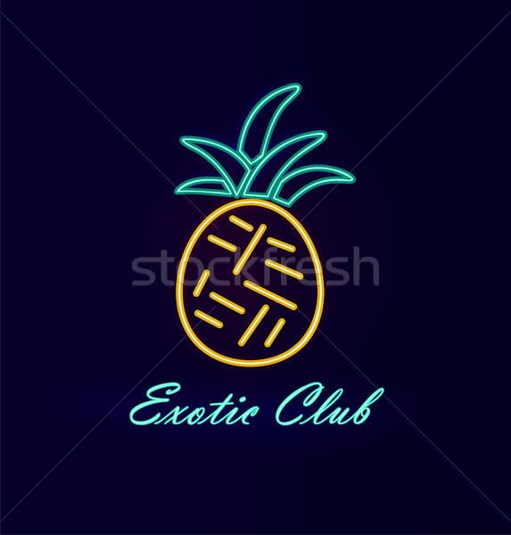 Elite club neon ananas poster afbeelding Stockfoto © robuart