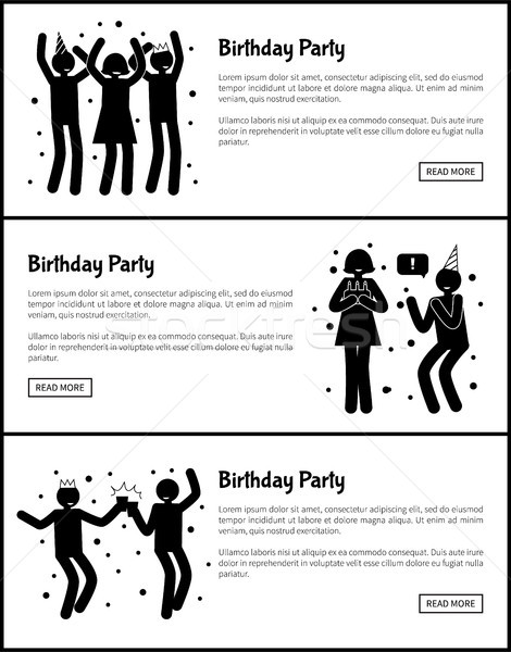 Birthday Party Web Posters Set in Black and White Stock photo © robuart