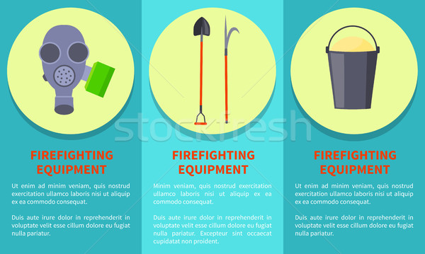 Tools for Firefighting on Circles Colorful Poster Stock photo © robuart