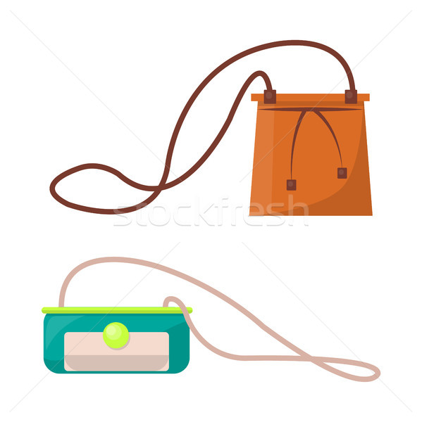 Female Stylish Leather Purses with Long Straps Set Stock photo © robuart