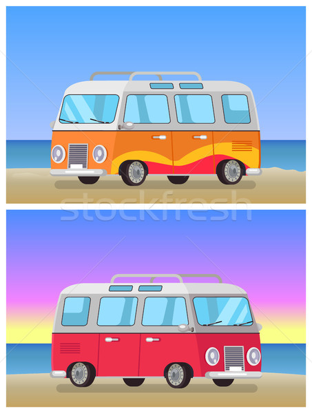 Retro Trailer Travelling Bus on Coastline Backdrop Stock photo © robuart