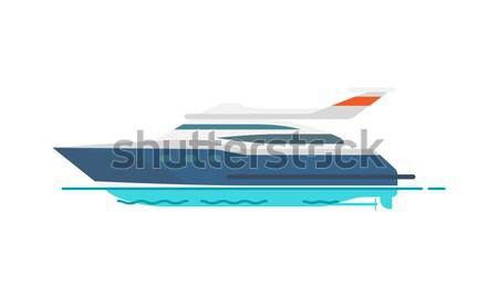 Cute patrón velocidad yate aislado blanco Foto stock © robuart