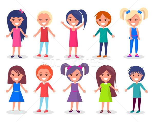 Gülen çocuklar ayarlamak erkek kızlar renk Stok fotoğraf © robuart