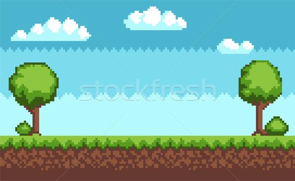 Fa bokor pixel stílus tájkép égbolt Stock fotó © robuart