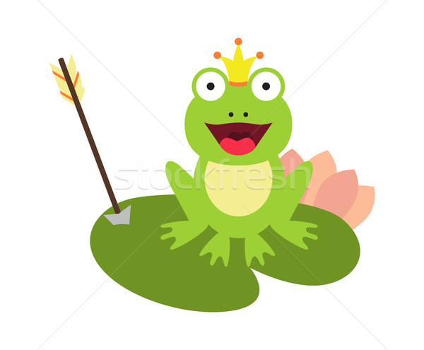 Frog and Crown with Arrow Vector Illustration Stock photo © robuart