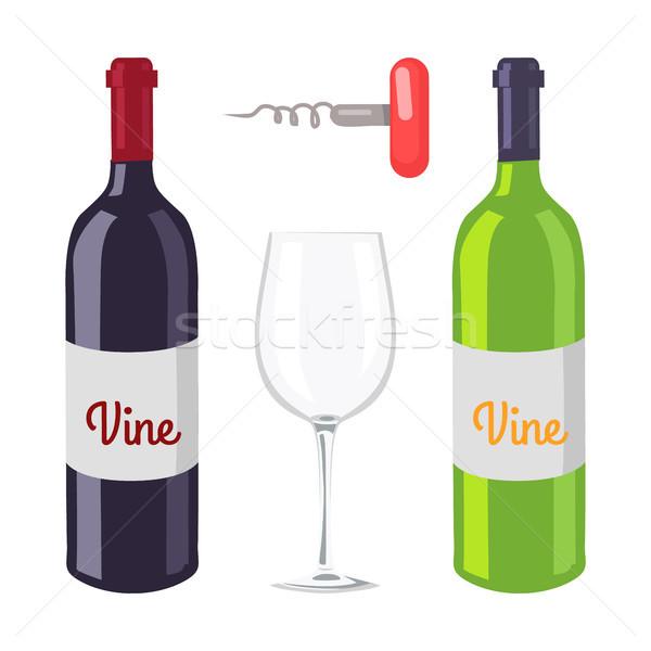 Stock photo: Wine Bottles and Corkscrew Vector Illustration