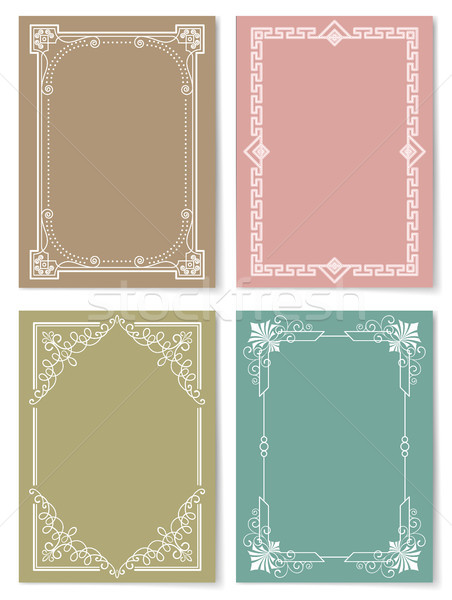 Engraving Baroque Style Vintage Frames Set Vector Stock photo © robuart