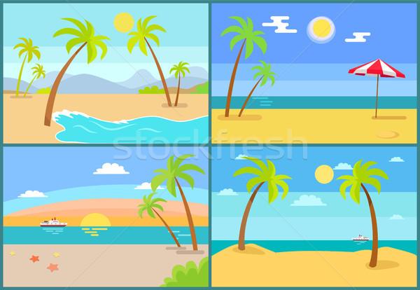 海景 手のひら コレクション 海 傘 ストックフォト © robuart