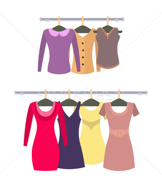 Female Stylish Tops and Dresses Hang on Racks Set Stock photo © robuart