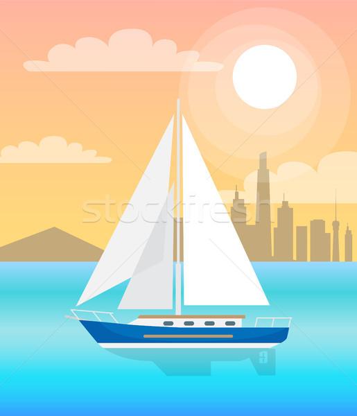 Zeil boot Blauw water zonsondergang vector Stockfoto © robuart