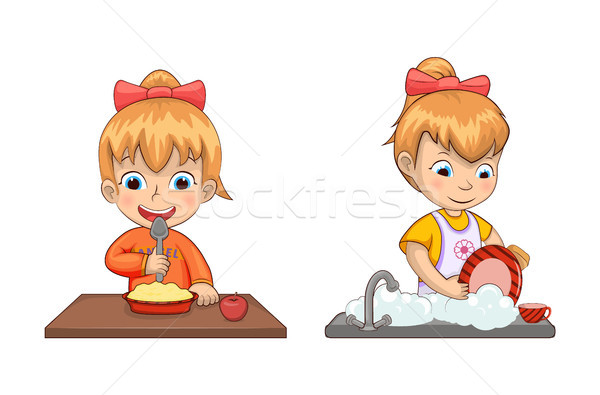 Girl Chores and Life Set Vector Illustration Stock photo © robuart
