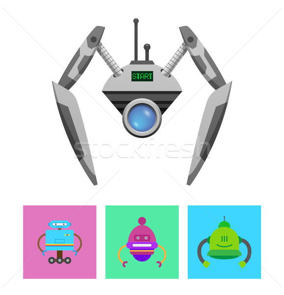 Cute Droid with Green Start Message on Display Stock photo © robuart