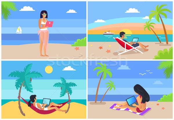 Freelance ingesteld mensen ontspannen werken tijd Stockfoto © robuart