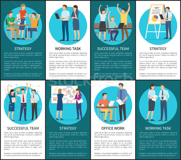 Teams Develop Working Tasks and Strategies Posters Stock photo © robuart