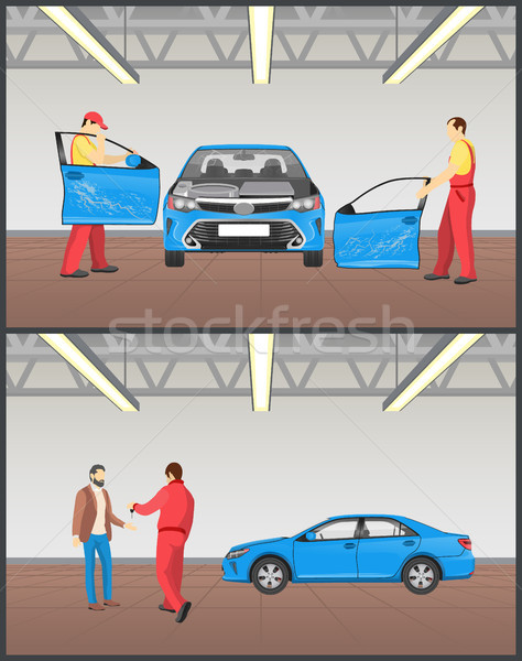Auto Before and After Servicing in Car Workshop Stock photo © robuart