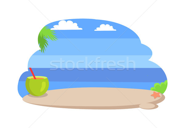 Seaside with Clear Blue Sky Vector Illustration Stock photo © robuart
