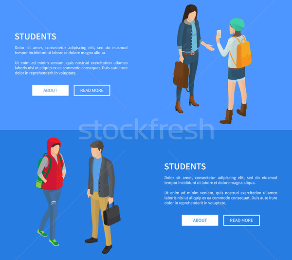 Studenten cartoon posters vector ingesteld Stockfoto © robuart